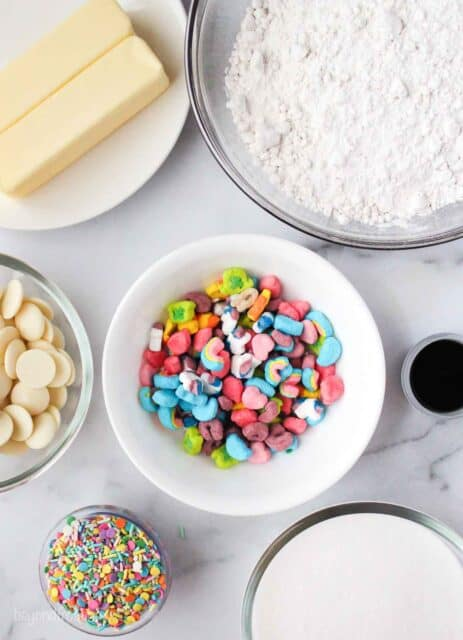 Ingredients for lucky charms cookies