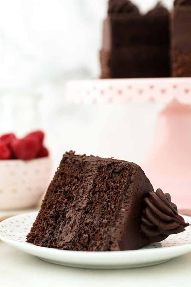 A Slice of Frosted Chocolate Cake on a Small White Plate