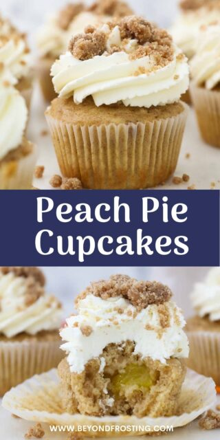 two photos of peach cupcake with text overlay
