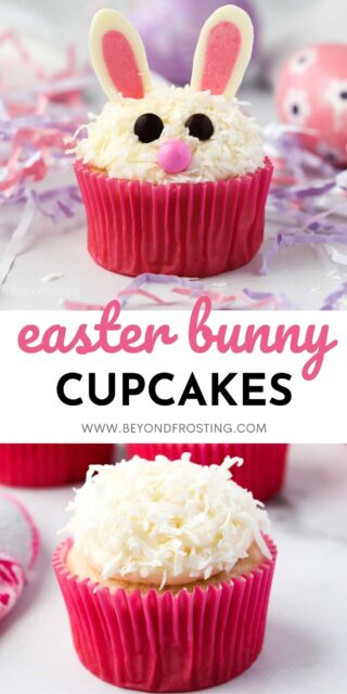 two images of Easter bunny cupcakes collaged with text overlay