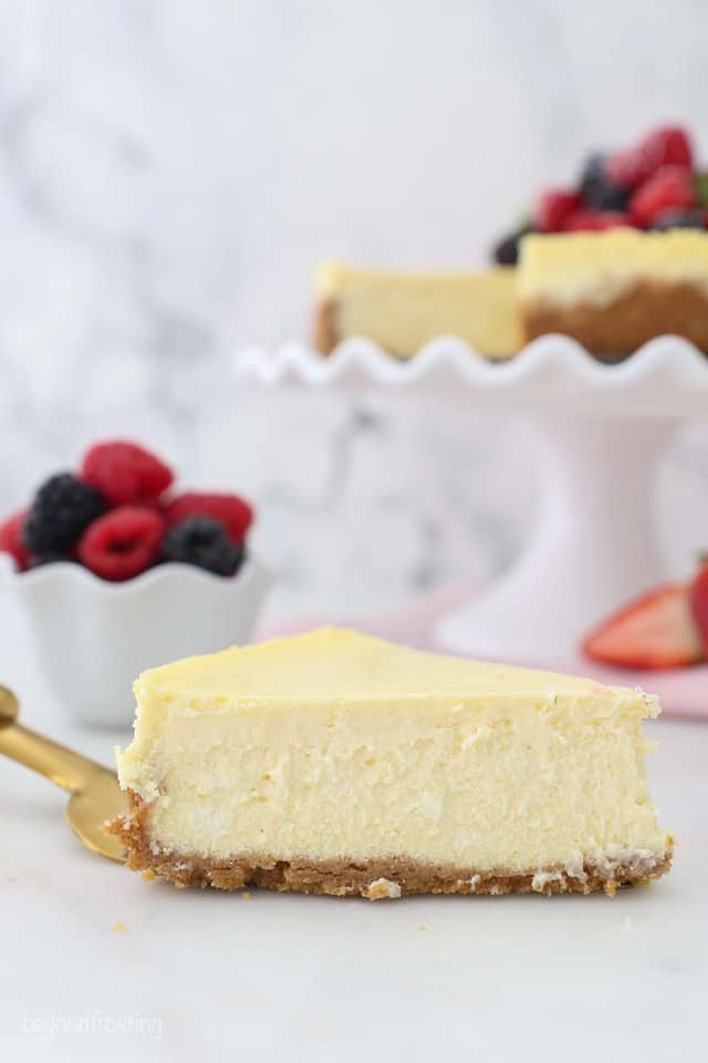 A slice of creamy homemade cheesecake on a serving fork