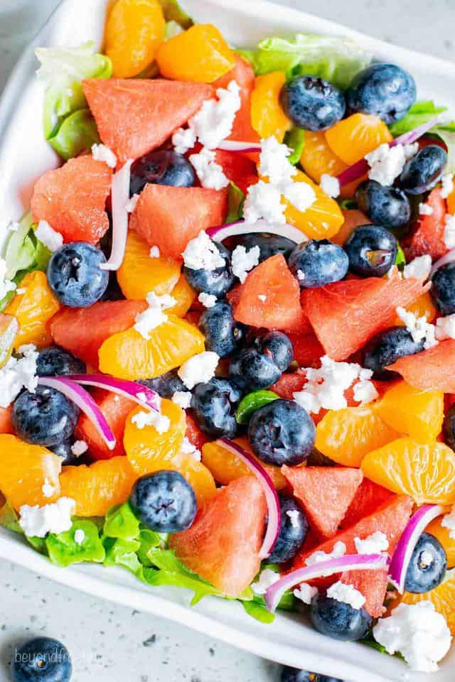 A Bird's-Eye View of a Summer Salad with Blueberries, Watermelon and Feta Cheese