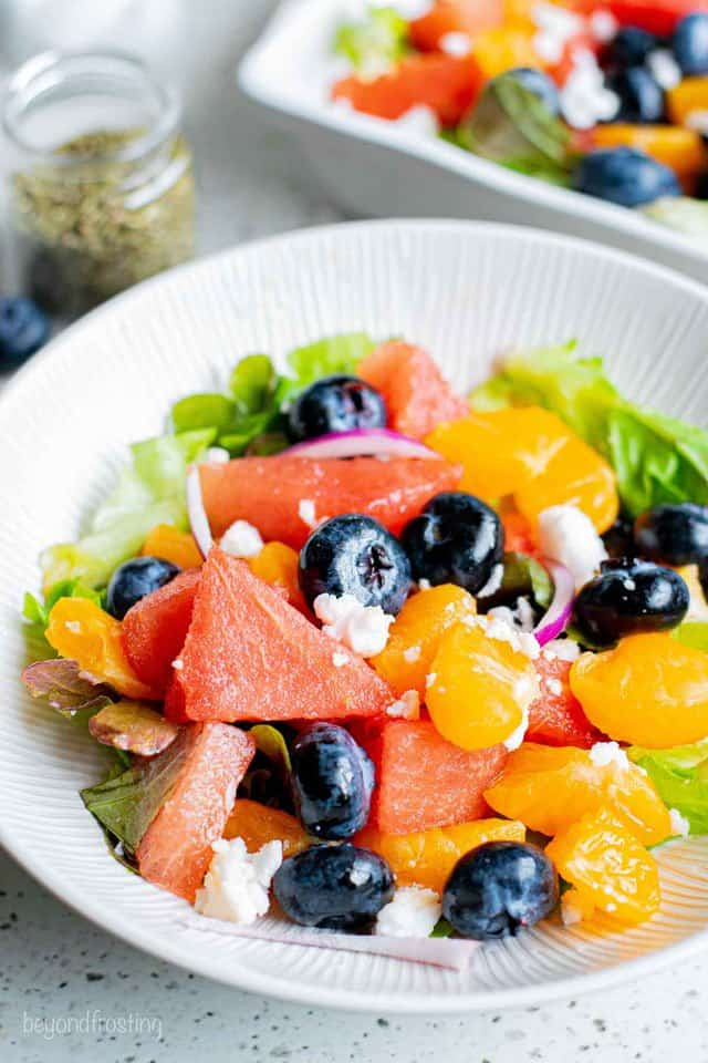 A Close-Up Shot of a Summer Fruit & Veggie Salad on a Plate