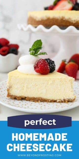 a slice of cheesecake on a white plate with hold polka dots and a text overlay