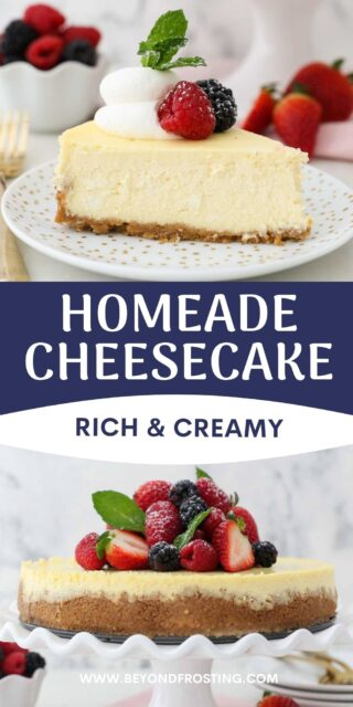two images of cheesecake, one slice and one whole with text overlay
