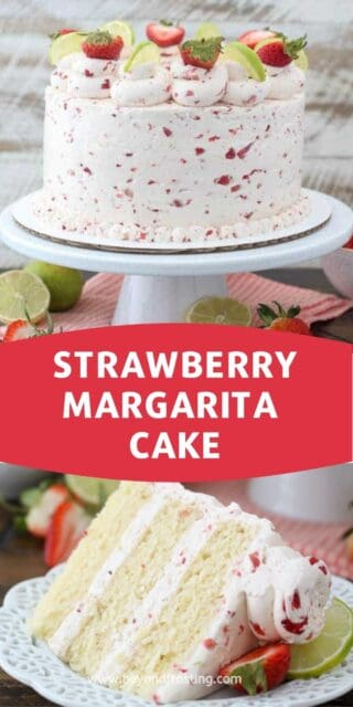 two images of strawberry cake, the whole cake on a white cake stand and a slice on a plate. Text overlaid on top in a red box