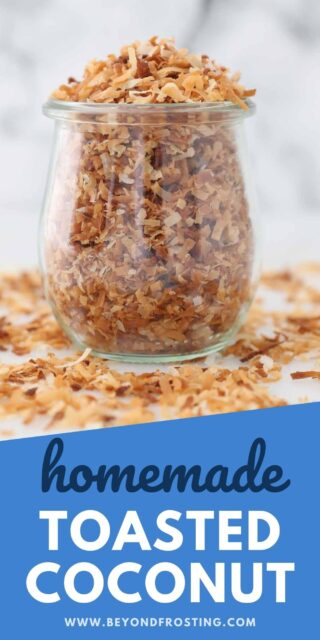 an image of toasted coconut in a jar with text overlay