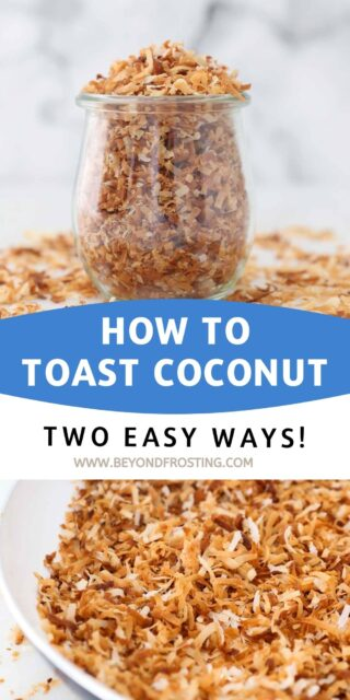 two images of toasted coconut with text overlay
