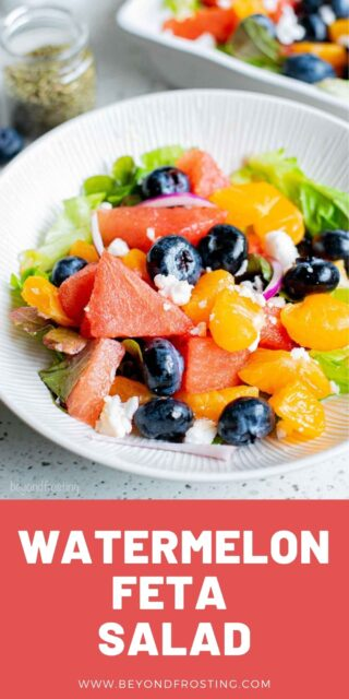 A Close-Up Shot of a Summer Fruit & Veggie Salad on a Plate with a text overlay and a red box