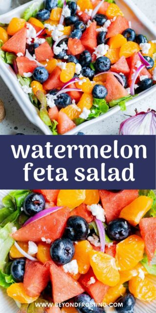 two images of watermelon salad with mandarins and blueberries and collaged text