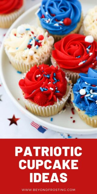 A picture of cupcakes decorated with red, white and blue frosting with a text overlay