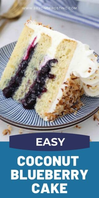 a slice of cake filled with blueberry sauce and a text overlay
