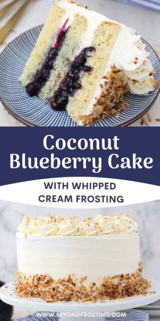 two images of a coconut layer cake with a text overlay
