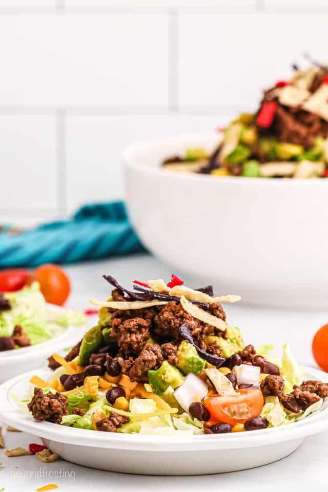 A small bowl of taco salad