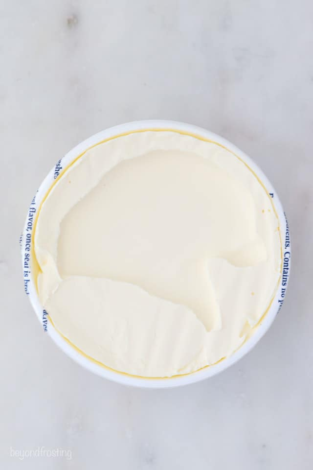 overhead shot of a container of mascarpone cheese