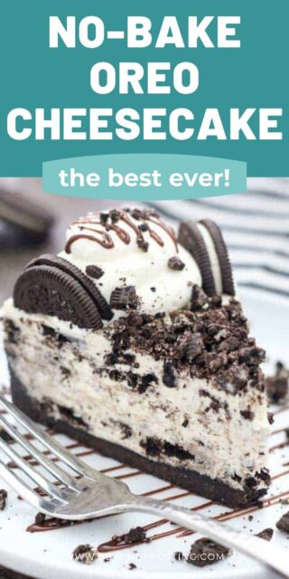 a slice of Oreo cheesecake on a plate with a silver fork, and a text overlay