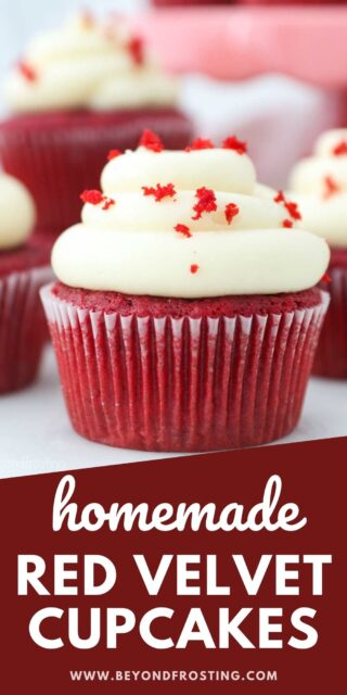 a close up of a frosted red velvet cupcake with a text overlay
