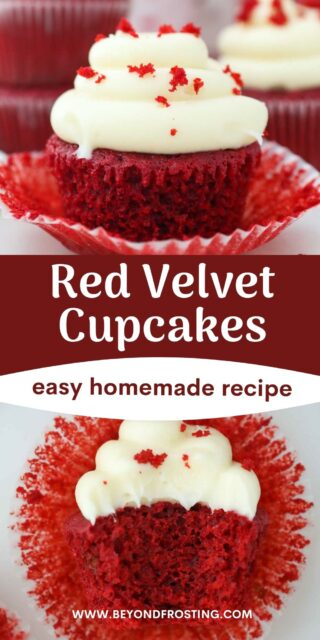two images of red velvet cupcakes with a text overlay
