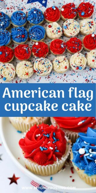 Two images of patriotic cupcakes with a text overlay