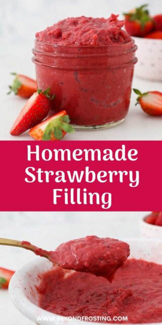 Two images of strawberry sauce with a text overlay