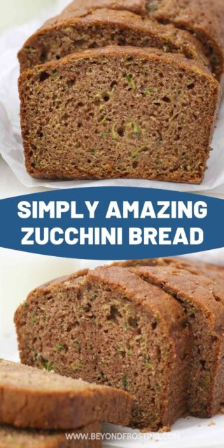 two slices of zucchini bread with a text overlay