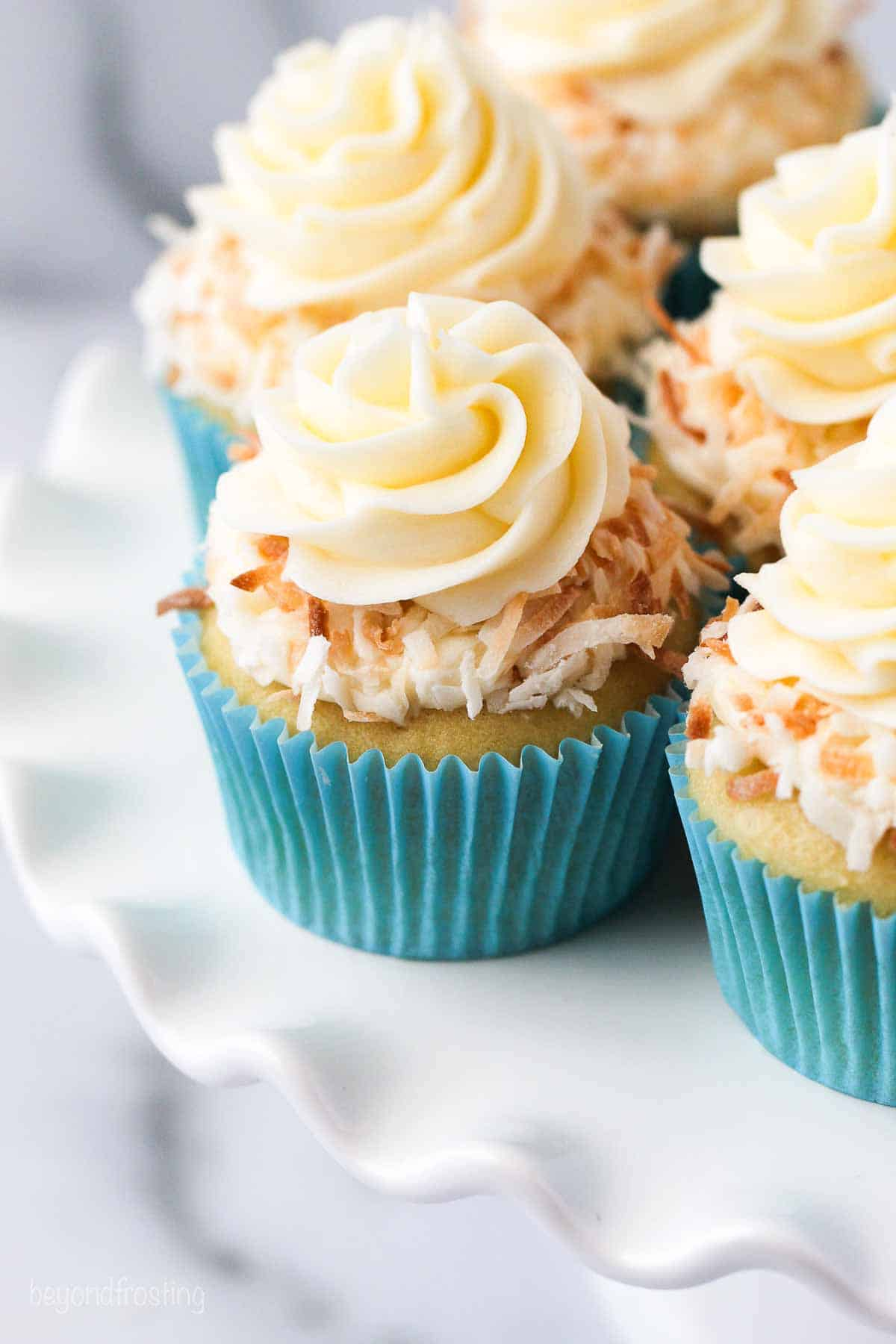 Several coconut cupcakes on a white plate