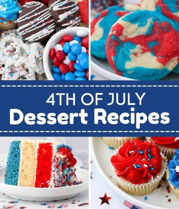 4 collaged images of red white and blue desserts like cookies, cakes and cupcakes with a text overlay
