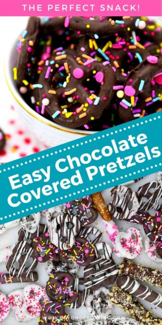 two images of chocolate covered pretzels, decorated with sprinkles and a text overlay