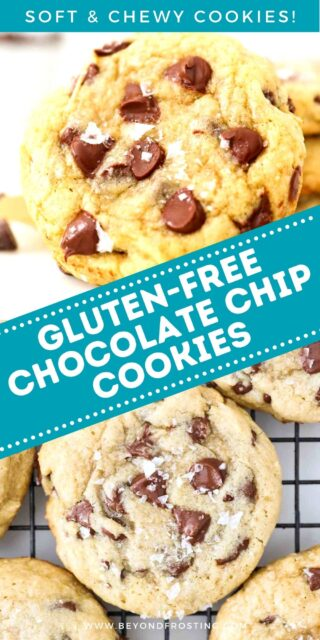 two images of chocolate chip cookies with text overlay