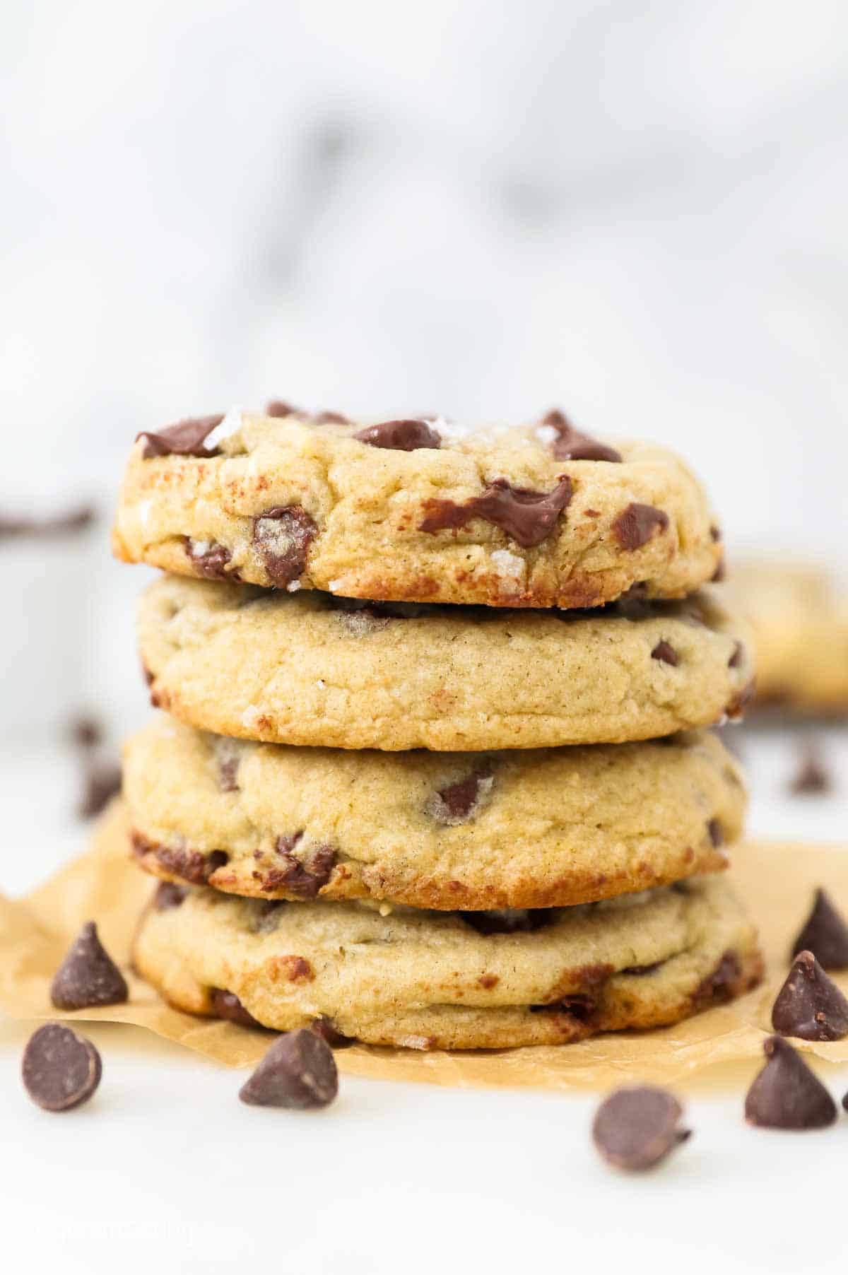 A stack of chewy chocolate chip cookies