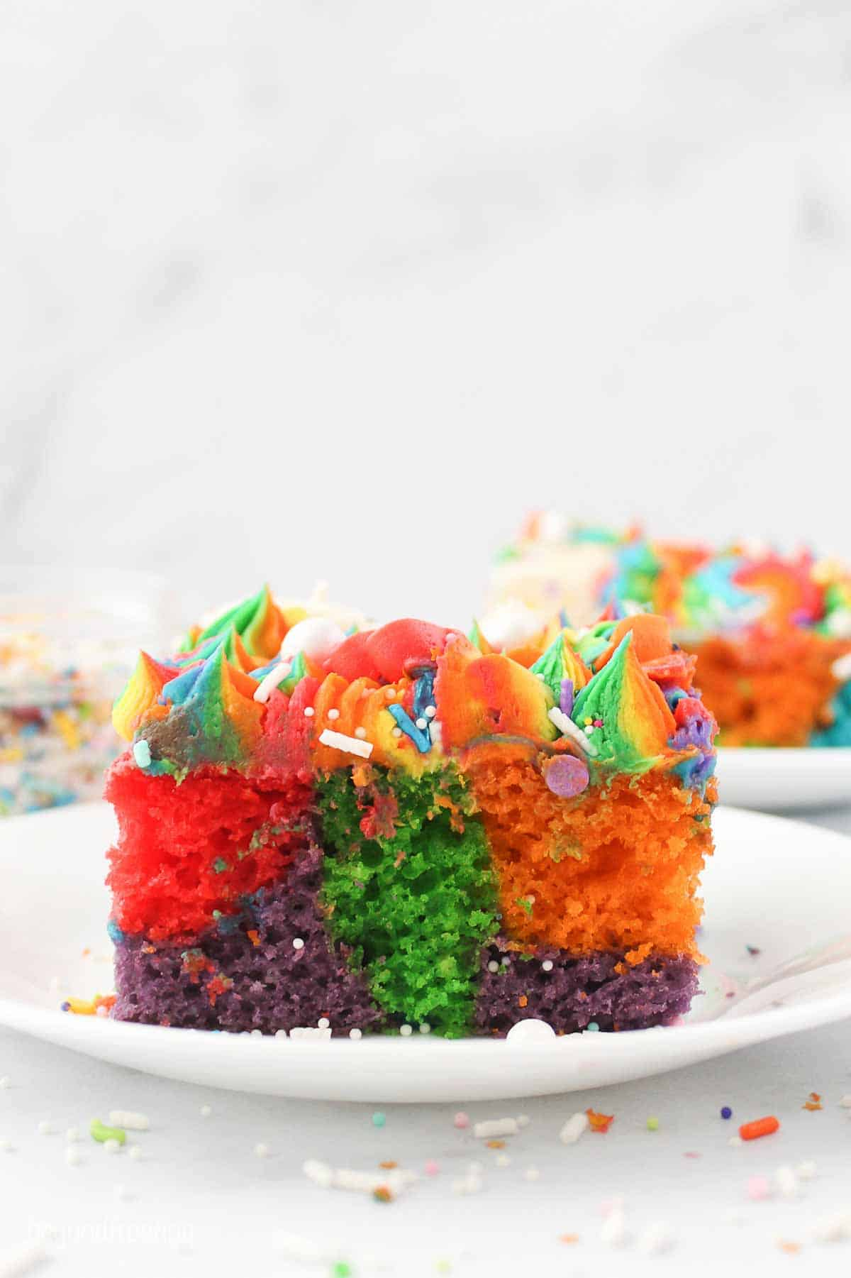 Side view of a slice of rainbowcake