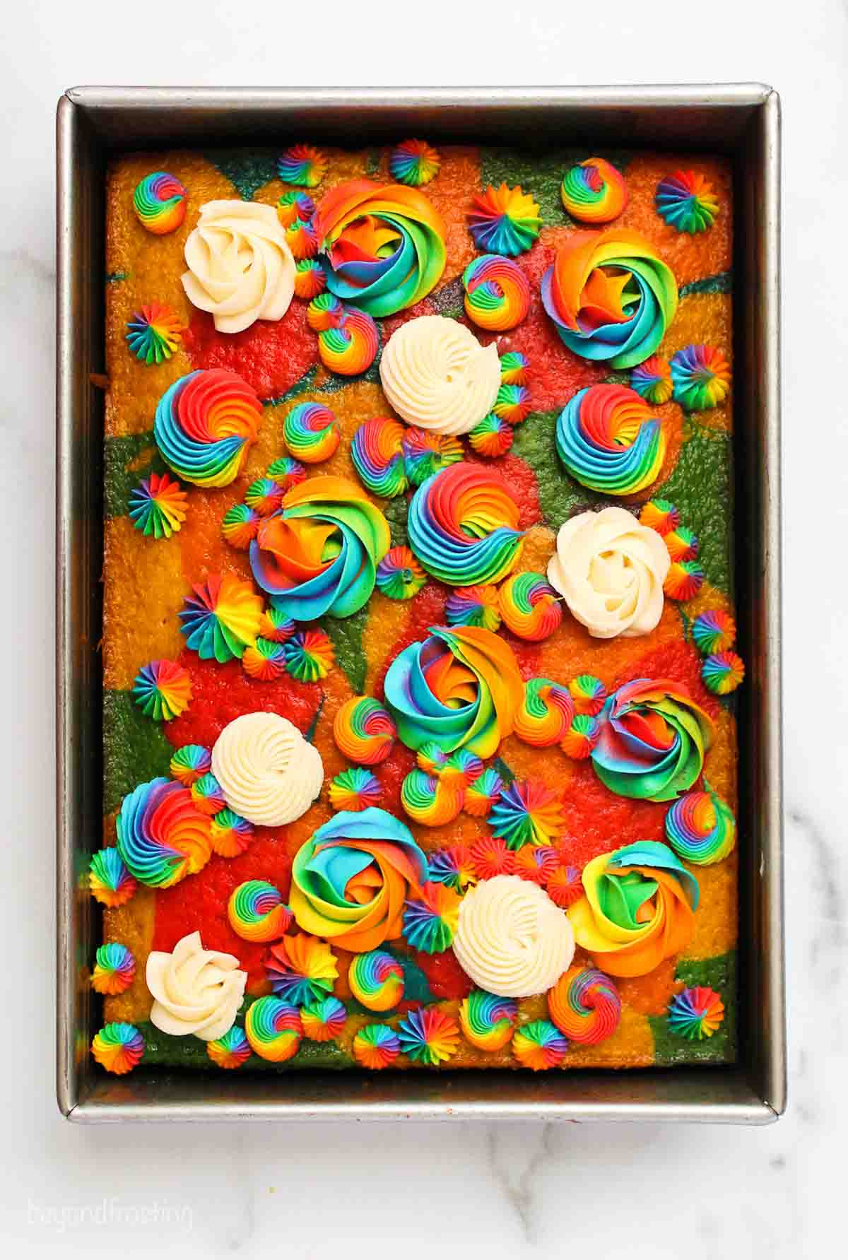 Rainbow cake topped with rainbow and white frosting rosettes
