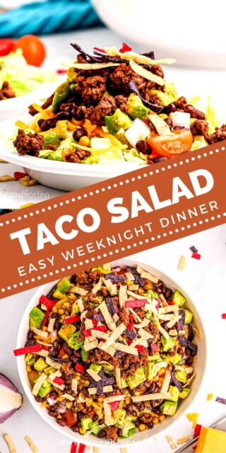 Two images of taco salad collaged with a text overlay