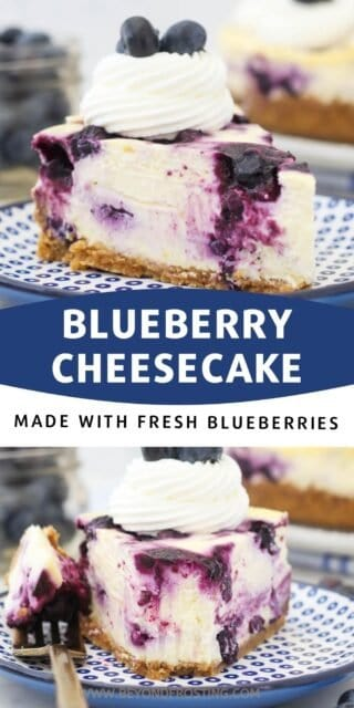 two pictures of A slice of blueberry cheesecake on a blue plate with a text overlay