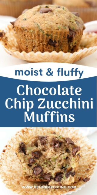 Two pictures of zucchini muffins, the bottom one has a bite out of it. Text overlaid on top