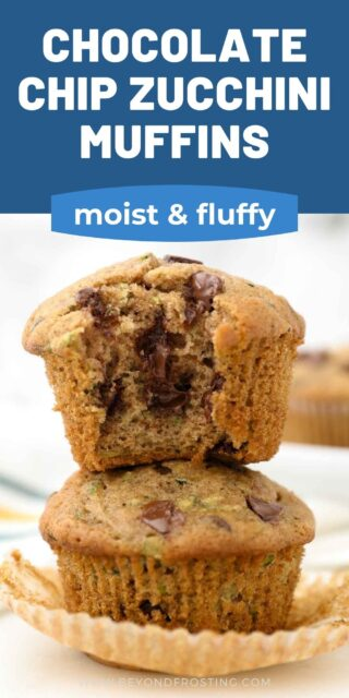 Two stacked unwrapped zucchini muffins, the top one has a bite out of it. Text overlaid on top