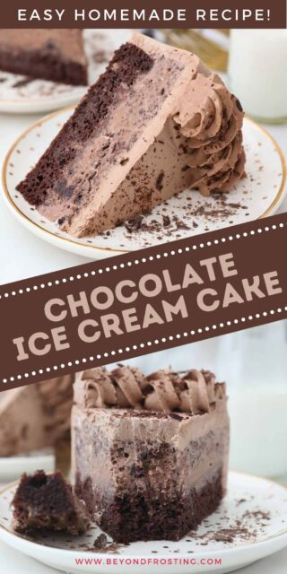 two image of a sliced chocolate ice cream cake with a text overlay on top
