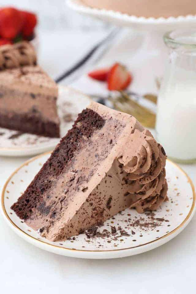 a slice of chocolate ice cream cake on a gold rimmed plate