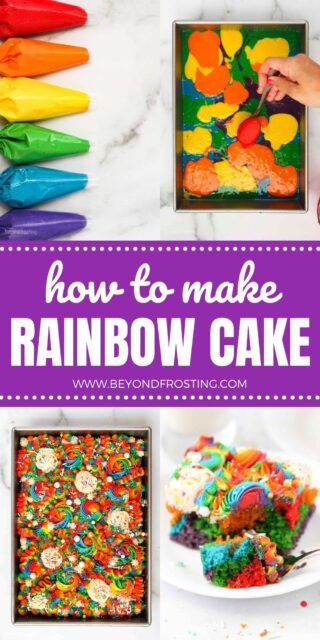 4 collaged images showing step by step for a rainbow colored cake, text overlay