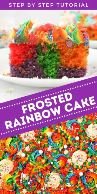 two images of a colorful rainbow cake with text overlay