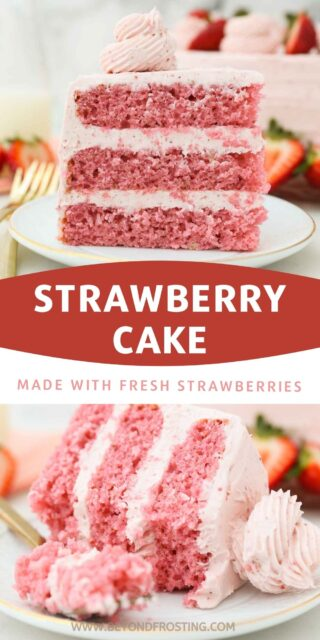 two pictures of a strawberry layer cake with a text overlay