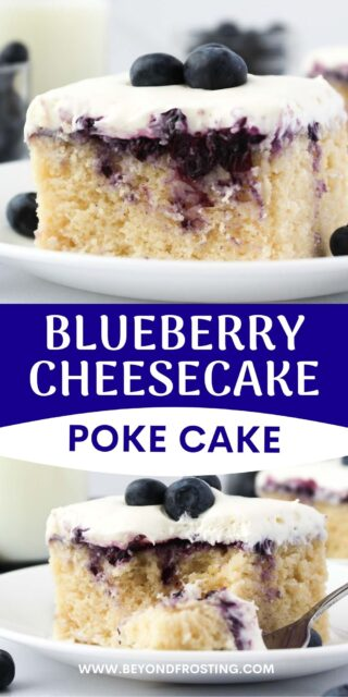 two photos of a blueberry cake with a text overlay