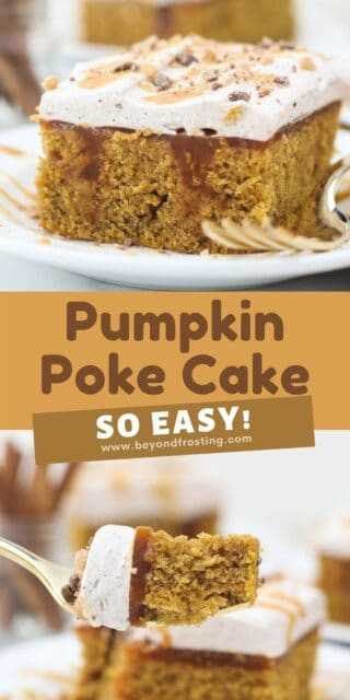 Two photos of pumpkin cake with text overlay