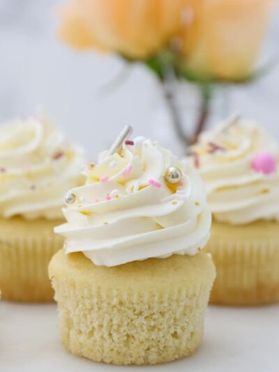 several frosted cupcakes