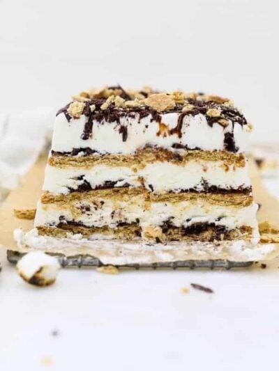 a large slice of cake