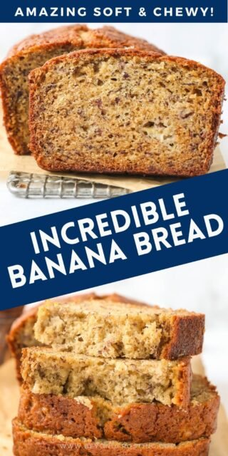 Two photos of banana bread with a text overlay