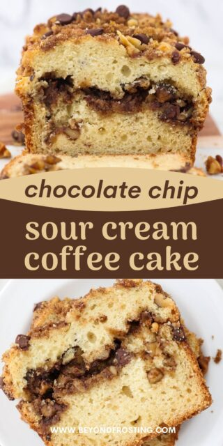two photos of sliced coffee cake with streusel and a text overlay