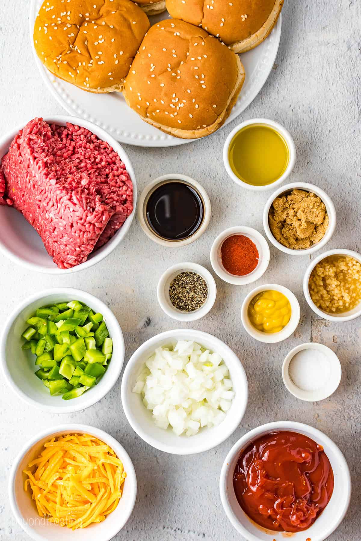 All of the ingredients for these Easy Sloppy Joes.