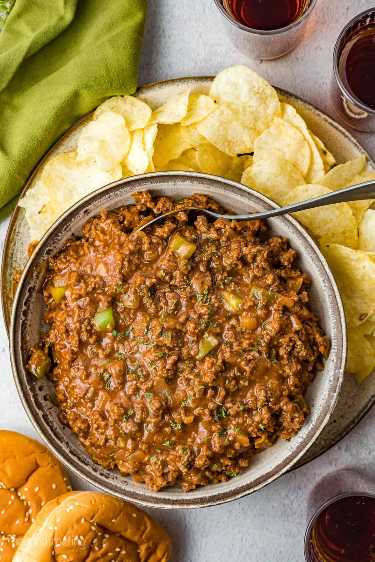 A skillet full of the finished Sloppy Joe meat.