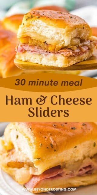 two photos of ham and cheese sliders with a text overlay